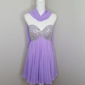 Anny Lee Purple Short Formal Dress